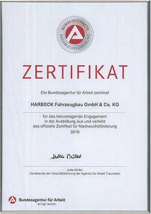 Harbeck Fahrzeugbau Zertifikat Nachwuchsförderung 2018
